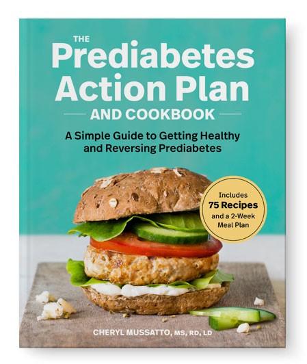 Prediabetes Action Plan book cover, by Cheryl Mussatto, Registered Dietitian